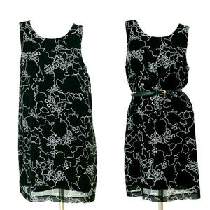 Kensie Black Floral Sleeveless Chiffon Shift Dres